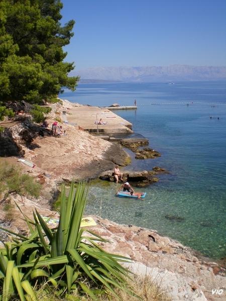 L'une des nombreuses criques qui borde le chemin du littoral menant de l'hôtel Fontana à la ville de Jelsa (environ 500m)
