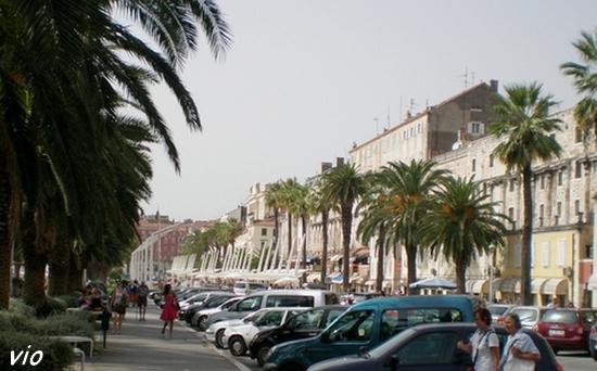l'esplanade bordée de palmiers, aux pieds de la muraille du Palais Dioclétien