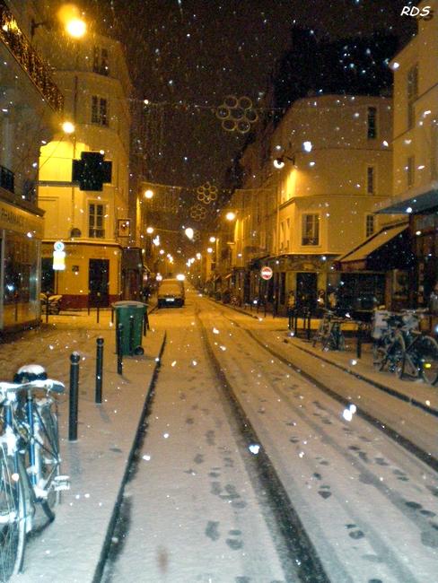 Rue Daguerre sous la neige !