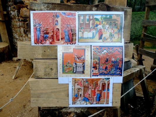 Enluminure représentant des scènes de chantier